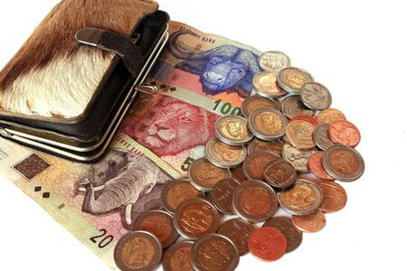 South African currency and springbok skin wallet isolated against white Stock Photo - 3749947