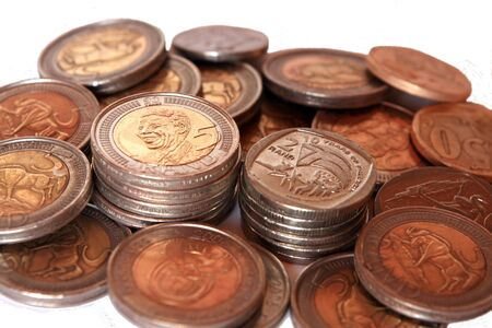 nelson mandela: Collection of South African coins with Nelson Mandela commemorative five rand