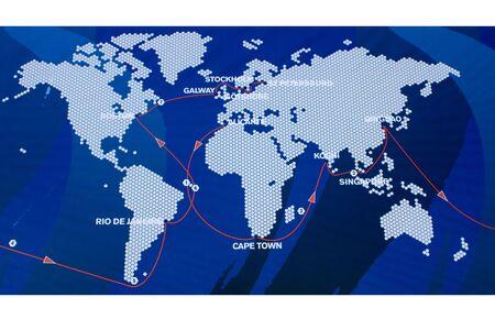 yacht race: Mundial de mapa que muestra la ruta y las etapas de la regata m�s importante del mundo