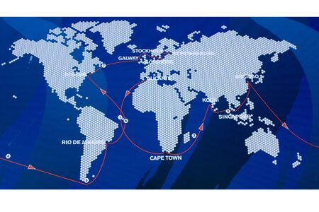 World map showing the route and stages of the world's premier yacht race Stock Photo - 3845729