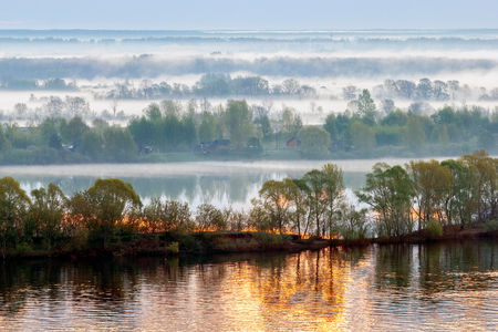 volga river: Dawn on the Volga river. Morning fog covers the coast.