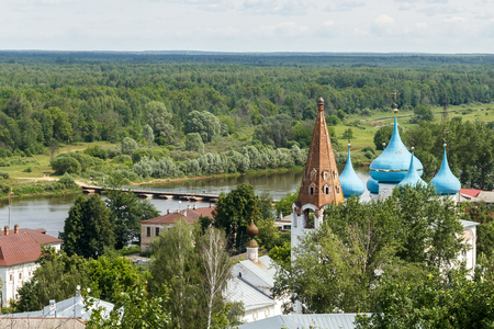 klyazma: Gorokhovets. Views from the Puzhalova mountain of the Klyazma River and domes of Annunciation Cathedral Stock Photo