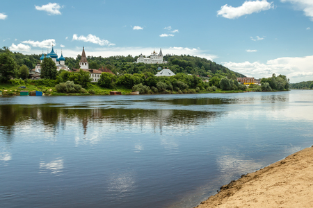 klyazma: Gorokhovets. Views on Puzhalova the mountain, churches and the monastery from the opposite river bank Klyazma Stock Photo