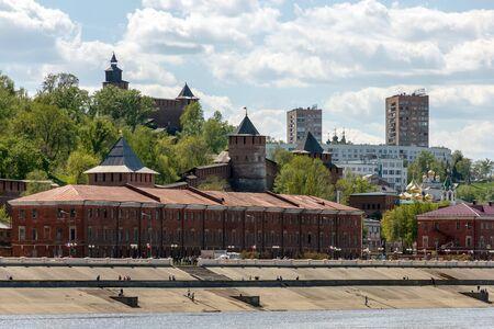 Nizhny Novgorod. View of the Nizhne-Volzhskaya Embankment and stone Kremlin from the Volga River Stock Photo