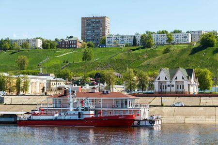 oka: Nizhny Novgorod. View of the Fedorovsky Embankment from the Oka River in summer day