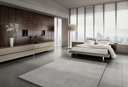 깔개: 현대적인 디자인 침실의 3D 렌더링