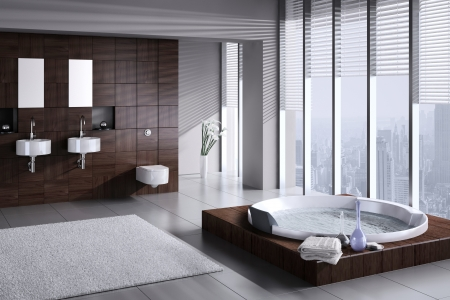 bathroom mirror: A 3d rendering of modern bathroom with double basin and jacuzzi