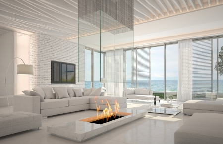 A 3d rendering of white living room interior with fireplace photo