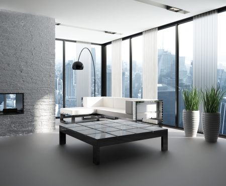 living room window: A 3d Rendering of modern living room interior