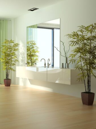 A 3d rendering of modern bathroom interior Stock Photo - 19459416