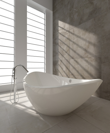 A 3d rendering of modern bathtub photo