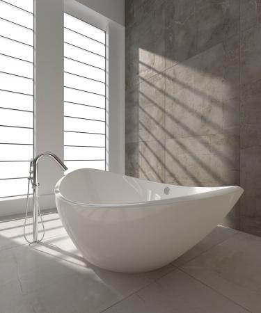 bathroom faucet: Una representaci�n 3d de la ba�era moderna