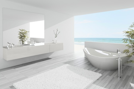A 3d rendering of light modern bathroom interior photo
