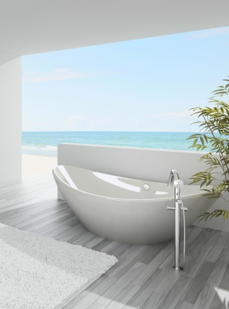 A 3d rendering of modern bathtub with seascape view Stock Photo - 19459554