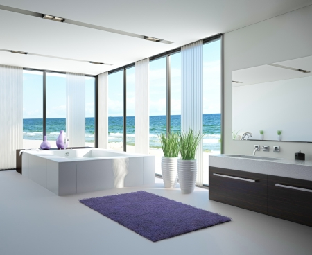 A 3d rendering of light bathroom interior with jacuzzi photo
