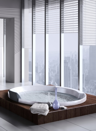 A 3d rendering of jacuzzi with floor to ceiling windows Stock Photo - 19459373