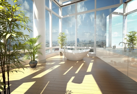A 3d rendering of modern bathtub against large windows photo