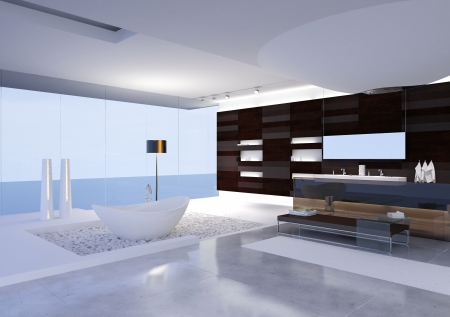 A 3d rendering of modern bathroom photo