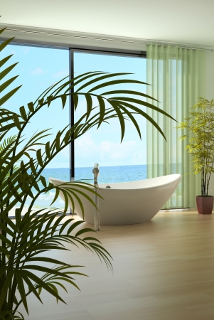 A 3d rendering of light bathroom interior photo