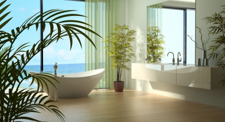 A 3d rendering of light bathroom interior Stock Photo - 19459431