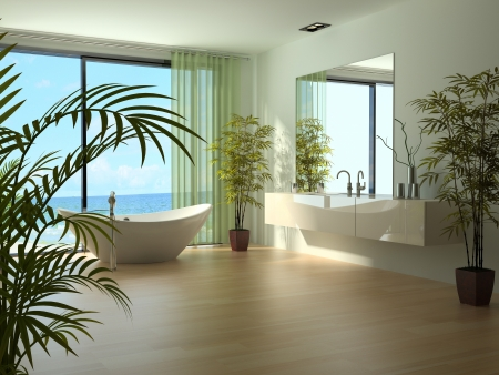 A 3d rendering of modern bathroom interior photo