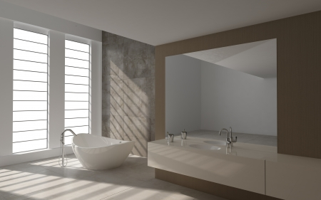 A 3d rendering of modern bathroom interior Stock Photo - 19459338