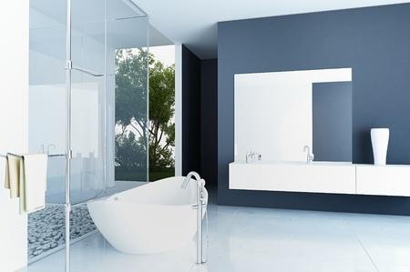 bathroom faucet: Una representaci?n 3d del interior moderno del cuarto de ba?o Foto de archivo