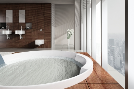 A 3d rendering of modern bathroom with double basin and jacuzzi photo