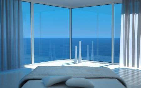 view of a comfortable bedroom: Modern white bedroom with amazing seascape view