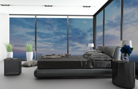 chambre � coucher: Int�rieur de la chambre moderne avec une belle vue Banque d'images