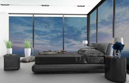 interior spaces: Modern bedroom interior with nice view