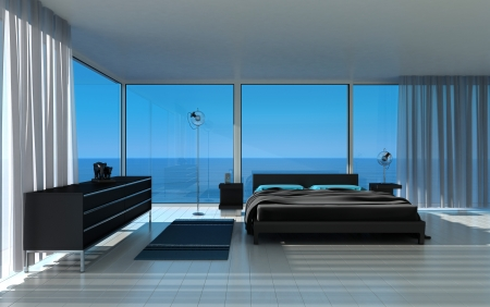sea of houses: Modern Bedroom with fantastic seascape view