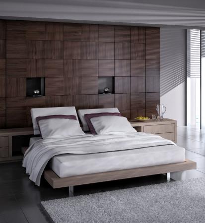 Modernes Design Schlafzimmer-Innenraum Lizenzfreie Bilder