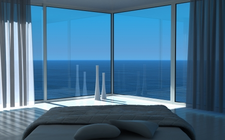 White bedroom interior with seascape view photo
