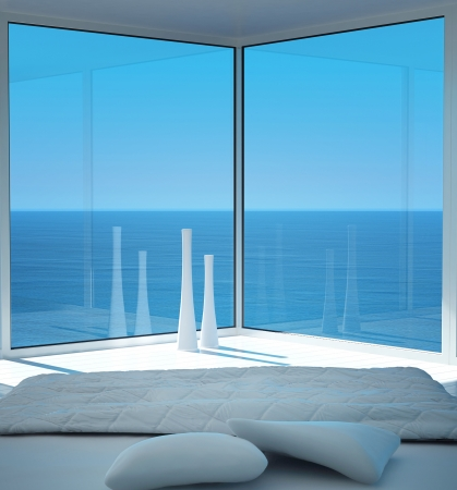 White bedroom interior with seascape view Stock Photo - 19532885