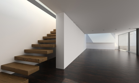 Modern Empty Room with Stair   Interior Architecture Stock Photo
