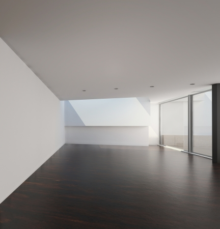 Empty room with floor to ceiling windows photo