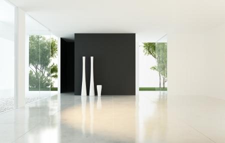 loft apartment: Modern Design Empty Living Room with Vases