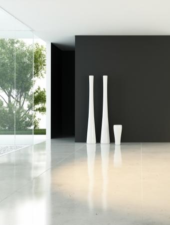 loft apartment: Modern empty living room with vases Stock Photo