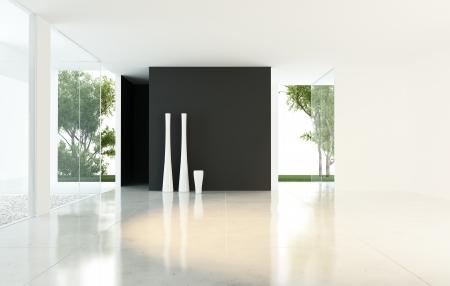Moderne leeren Wohnzimmer mit Vasen
