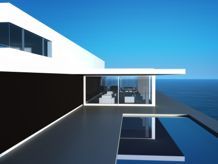 Modern Luxury Design Villa with seascape view Stock Photo - 19533011