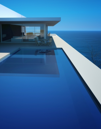 ocean of houses: Modern Design villa with pool and seascape view Stock Photo