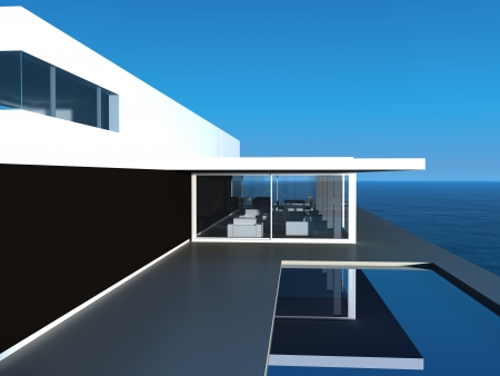 balcony window: Modern Design villa with pool and seascape view Stock Photo