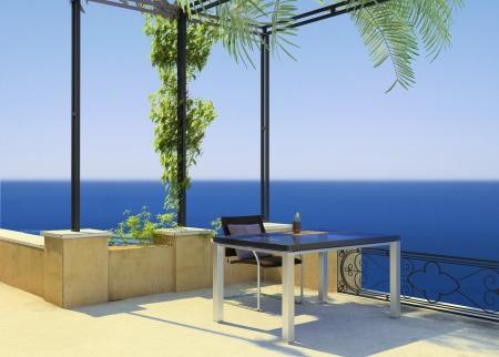 sunny mediterranean terrace