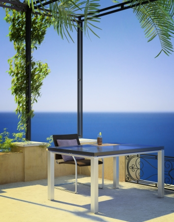 sunny mediterranean terrace photo