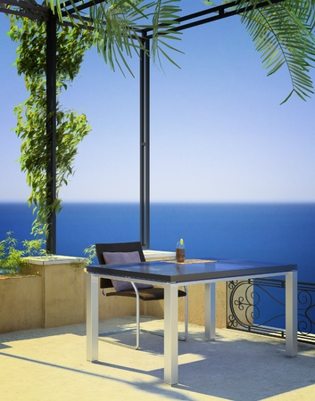 sunny mediterranean terrace photo