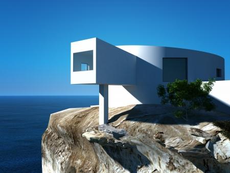 Modernes Design Villa am Meer Au�enarchitektur Lizenzfreie Bilder