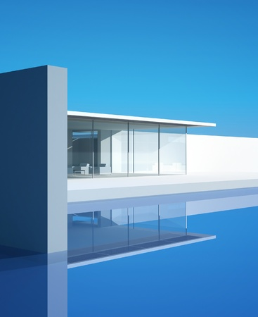 blue facades sky: Modern Design house with pool