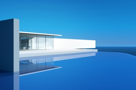Modern Design House Villa Exterior with Infinity Pool photo