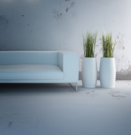 Modern Design Interior Room with white sofa and vases Stock Photo - 19753498